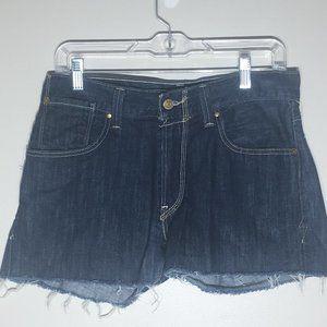 Levi's Dark Denim Frayed Edge Flap Pocket Shorts
